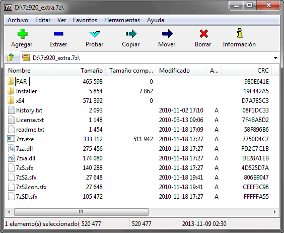 Screenshot 7-Zip 9.20